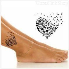 Temporary Tattoo 1 Butterfly Ankle Tattoo by UnrealInkShop on Etsy