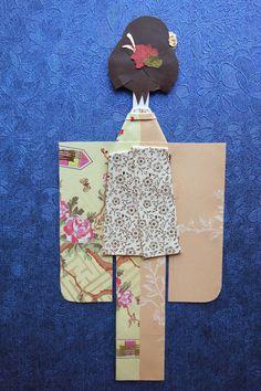 Dual-Patterned Kimono Paper Doll with Uchiwa Kanzashi