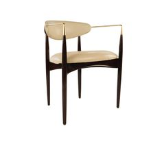 Dering Hall - Buy LETO Walnut and Brass Frame Chair by Kimberly Denman - Armchairs - Seating - Furniture