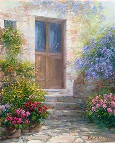 The wood door Italian painting of painter Antonietta Varallo original oil on canvas Italy Italia