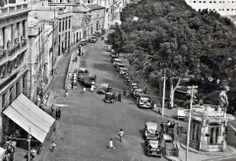 Antigua foto del Café Atlántico, los Paragüitas y el principio de calle La Marina, Santa Cruz de Tenerife.