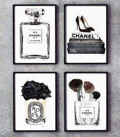 Black and white Set of 4 fashion posters fashion perfume - Holiday Gift Guide fo. - Black and white Set of 4 fashion posters fashion perfume – Holiday Gift Guide for New Moms – me - Chanel Room, Chanel Wall Art, Chanel Decor, Black And White Posters, Black And White Pictures, Bedroom Art Above Bed, Wall Art Bedroom, Silver Bedroom Decor, White Bedroom