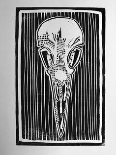 Here is a linocut print of the skull of a crow, printed onto high quality card using water based ink. Crow Skull, Linocut Prints, Ink, Frame, Cards, Etsy, Picture Frame, Frames, India Ink