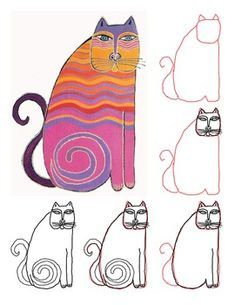 How to Draw an Abstract Cat in the Style of Laurel Burch How to Draw an Abstract Cat in the Style of Laurel Birch Laurel Burch, Arte Elemental, Atelier D Art, Cat Sketch, Cat Crafts, Cat Drawing, Drawing Ideas, Land Art, Art Club