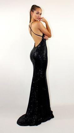 Goddess Black backless sequin dress by Studio Minc Black Evening Dresses, Black Prom Dresses, Grad Dresses, Event Dresses, Satin Dresses, Ball Dresses, Pretty Dresses, Homecoming Dresses, Sexy Dresses