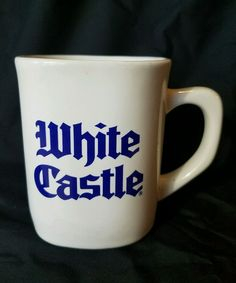 White Castle Vintage Square Blue Print Logo Coffee Cup Tea Mug Fast Food Burger | Collectibles, Advertising, Restaurants & Fast Food | eBay!