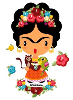 Ideas For Wall Paper Frida Kahlo Image Mexican Artists, Mexican Folk Art, Mexican Party, Arte Popular, Cute Illustration, Artsy, Clip Art, Drawings, Prints