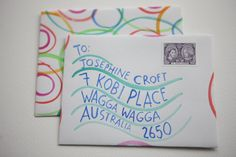 hand painted envelopes.