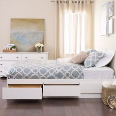 Make your bed the most versatile piece in your bedroom with the Queen Mates Platform Storage Bed with 6 Drawers. Store your linens, shoes and other bedroom items in six 18 deep drawers (three per side) and take the pressure off your dresser. Kids Beds With Storage, Bed Frame With Storage, Bed Storage, Bedroom Storage, Bedroom Sets, Drawer Storage, Bedding Sets, Bedroom Girls, Full Bed Frame