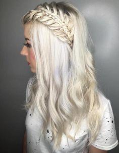 Platinum Blonde Hairstyle With Half Up Braid