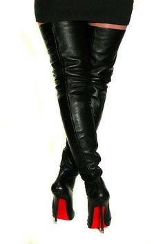 Di Marni thigh high leather boots with zippers and laces - 07 ...
