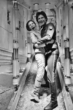 Carrie Fisher and Harrison Ford on the set of Empire Strikes Back