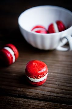 tiny red macarons by desserts for breakfast