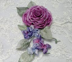 Ribbonwork Brooch Pin Roses Ribbon Work by lambsandivydesigns, $26.95