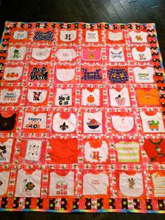 Baby's First Year Memory Quilt ... unique with all the bib's, outfits, etc.