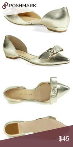 Ivanka Trump Loire Flat An insouciant bow adorns the toe of an elegant d'Orsay flat alight with metallic gleam. Leather upper/synthetic lining and sole. By Ivanka Trump Brand new, no box. Ivanka Trump Shoes Flats & Loafers