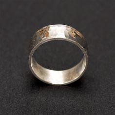 Hammered sterling silver ring, handmade by Rebecca Cordingley