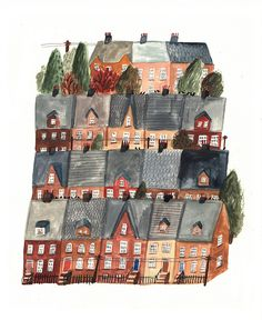 Town By Lizzy Stewart, via Flickr.  / city illustration / house