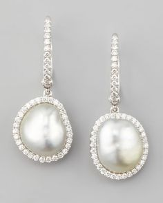 White South Sea Pearl & Diamond Framed Drop Earrings, White Gold by Eli Jewels at Neiman Marcus.