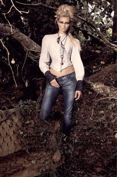 From our Bowerbird photo shoot...  | denim | jeans | woods | forest | editorial | hot | moody | fashion  www.republicofyou.com.au