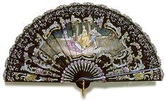 Circa 1990 This is a brisé fan made of ebony, beautifully carved, decorated and lacquered by hand. The painting represents a pastoral scene. The size of the unfold fan is about 33 by 18 cm by 7 ¼ inches), and when closed it is 18 cm ¼ inches) long. Antique Fans, Vintage Fans, Vintage Antiques, Vintage Items, Vintage Accessories, Women Accessories, Fashion Accessories, Victorian Women, Victorian Era