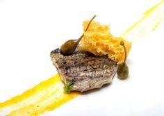 Raya con tinta de olivas negras del bajo Aragón y gel de naranja - Certamen Gastronómico Horeca 2016