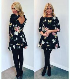 BNWT Topshop Black Floral Tea Dress worn by Holly Willoughby/Scarlett Size 8 Black Tea Dresses, Tea Dresses Uk, Petite Dresses, Dress Black, Office Outfits, Stylish Outfits, Cute Outfits, Teacher Outfits, Work Outfits