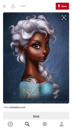 Black Elsa, bleached (well, more like an old person's hair color) hair. Black Love Art, Black Girl Art, My Black Is Beautiful, Black Girl Magic, Art Girl, Black Girls, Black Cartoon, Cartoon Art, Arte Disney
