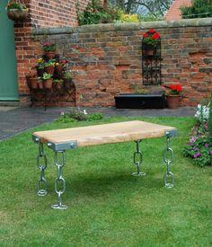 Bespoke Chain Leg Table CROFT HOUSE FURNITURE Artisan Steve Mallender - upcycled vintage wood. £575.00, via Etsy.