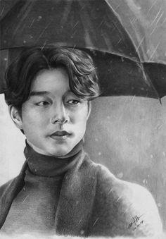 He is looking at his future Girly Drawings, Kpop Drawings, Art Drawings Sketches Simple, Portrait Sketches, Colorful Drawings, Goblin Kdrama Fanart, Kpop Fanart, Goblin Art, Yoo Gong