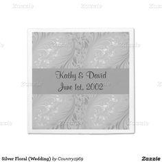 Silver Floral (Wedding) Standard Cocktail Napkin