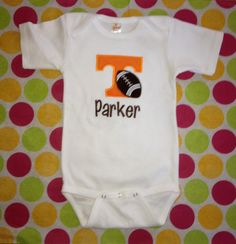 Personalized University of Tennessee Football Onesie on Etsy, $22.95