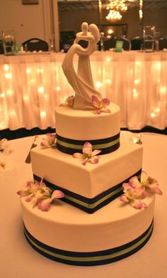 3 tier fondant cake with hand made sugar flowers and satin ribbon