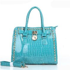 Fashion Michael Kors Hamilton Embossed Stud Medium Blue Totes Online!