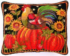 Pumpkin Rooster Hooked Pillow