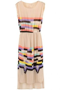 Pink Sleeveless Rainbow Print Striped Sundress pictures
