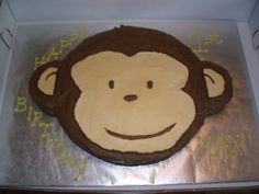 Monkey Birthday cake - super easy, just used a extra large round pan and a extra small round pan.