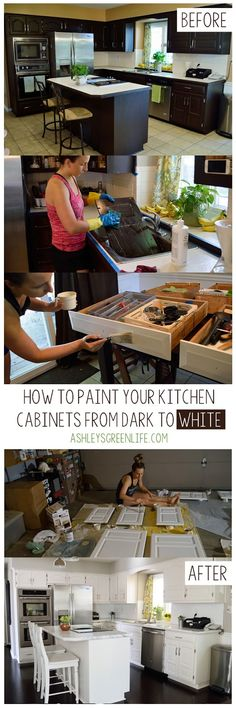 How to paint your kitchen cabinets from dark to white using the Rustoleum Cabine. How to paint your kitchen cabinets from dark to white using the Rustoleum Cabinet Transformations kit in White Linen. Espresso Kitchen Cabinets, Shaker Kitchen Cabinets, Kitchen Cabinet Styles, Painting Kitchen Cabinets, Kitchen Paint, Kitchen Appliances, Wood Cabinets, Kitchens, New Kitchen