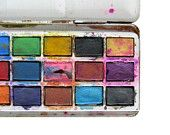 Water color paints in a tin case. Loved these. They always ended up brown because I mixed them together!!  lol
