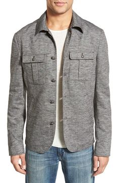 John Varvatos Star USA Trim Fit Cotton & Linen Military Shirt Jacket available at #Nordstrom