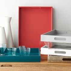 Our Lacquer Trays in bold shades set a playful scene. They're versatile enough to go beyond serving drinks and can be used on a dresser to organize makeup or on a coffee table to hold a stack of books. Plum Living Rooms, Modern Furniture, Home Furniture, Modern Decor, Butler Tray, Interior Design Guide, Coffee Table Tray, Mirror Tray
