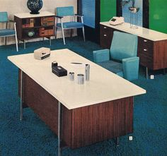 retro office. Mid Century Office, Sears Catalog, 1964 - Love The Turquoise Chairs! Retro Office