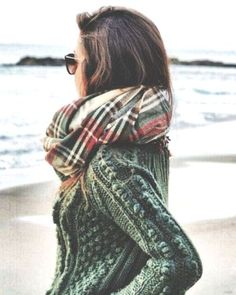 green sweater and scarf, Stylish scarves and snoods for winter http://www.justtrendygirls.com/stylish-scarves-and-snoods-for-winter/
