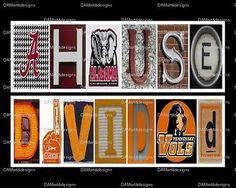 NCAA House Divided Framed Alphabet Art