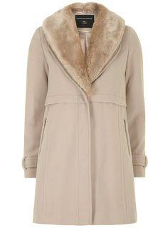 WOW looks warm! Stone 2 in 1 Faux Fur Collar Coat
