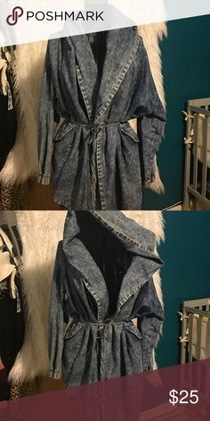 Over sized jean jacket Oversized jean jacket with large hood. I feel like little red riding hood in it. Super cute!! Very stylish pair it with anything. Can be casual or sexy. Jackets & Coats Capes