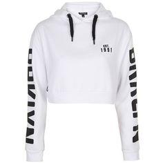 Topshop 'Brklyn' Graphic Crop Hoodie ($55) ❤ liked on Polyvore featuring tops, hoodies, hooded sweatshirt, graphic pullover hoodies, long sleeve crop top, cropped hoodie and graphic hoodies
