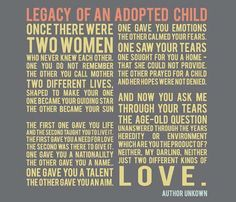 Legacy of an adopted child... a beautiful must-read poem! #adoption #adopt #children