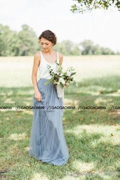 in love!! maybe high coverage though Two Tone Blush Dusty Blue Beach Bridesmaid Dresses Separates From BHLDN 2016 New Style Elegant Cheap Long Maid Of Honor Wedding Guest Dress