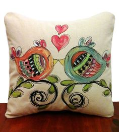 Whimsical Lovebirds,  Hearts, Wedding, Gift, Home Decor, Decorative Pillows, Accent Pillows, Pillow Cover, Hand-painted